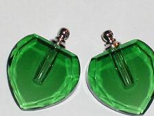 1 xl Large Green Glass Heart Perfume oil Necklace pendant bottle facet Screw Cap