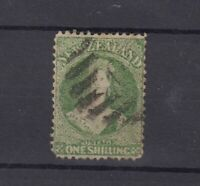New Zealand QV 1864 1/- Yellow Green Chalon Star SG125 Fine Used JK2712