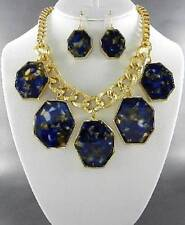 Clear And Navy Blue Lucite Stud Uneven Shape Gold Tone Frame Dangle Necklace Set