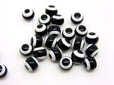 25 Pcs - 9mm Black & White Resin Round Stripe Beads Acrylic Craft Beading R92