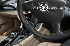 FOR DAEWOO LANOS PERFORATED LEATHER STEERING WHEEL COVER YELLOW DOUBLE STITCHING