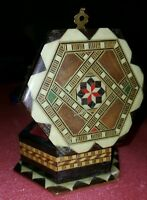 Vtg inlaid~asst materials~hexagon Trinket Jewelry Ring Box~Hinged Lacquer