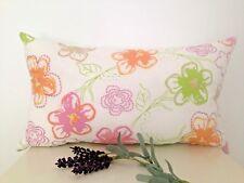 Watercolour Floral Orange Green Pink Stitch Cotton Pillow Cushion Cover 30x50cm