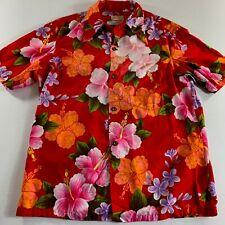 Ui Maikai Mens Shirt Hawaiian Red Floral Pointed Collar Vintage Lounge Cotton