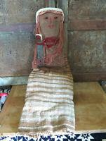"OLD Handmade Primitive Folk Art Rag Doll Mama & Baby Hand woven Fabric 25"" AAFA"