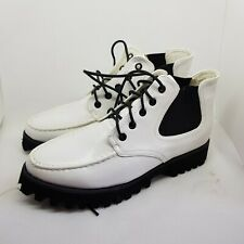 DOLCIS - WHITE ANKLE BOOTS THICK CREEPER SOLES LACE UP UK 6 *NEW & UNWORN*