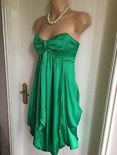 Size 12 Green Coast Drape Style Strapless Dress with Bubble Hem