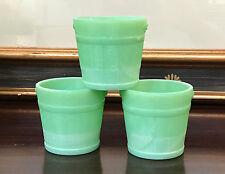 3 Martha Stewart by Mail LE Smith Jadeite Green Glass Faux Bois Oaken Buckets