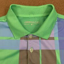 Mens NIKE GOLF Green Chest Plaid Performance Polo Shirt Medium
