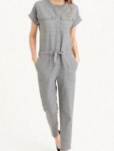 NWT JCREW $398 Collection Cargo Jumpsuit Heather Gray Size6 E0174
