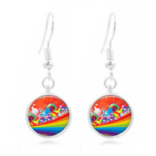 16Mm Glass Cabochon Long Earrings #432 Rainbow Art Photo Tibet Silver Dome Photo