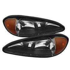 Pontiac 99-05 Grand AM Black Housing Replacement Headlights Pair Set GT SE