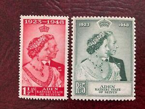 Aden Kathiri State SC#14-15 NH Set 1948 Silver Wedding