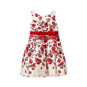 NWT Janie & Jack 8 10 12 Plaid Party White FALLING ROSE DRESS Cotton Sateen