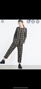 Zara Check Plaid Wool Blend Jumpsuit Size S