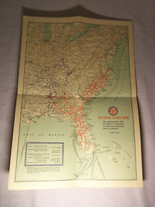 1947 MAP Atlantic Coast Line Railroad Investment Bankers AA HOLLYWOOD FL # 1091