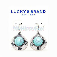 Lucky Brand Antiqued Silver Tone Tribal Turquoise Stone Floral Drop Earrings