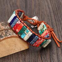 behandlung leder wickeln armband - perlen armband naturstein 7 chakra