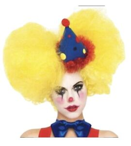 BIGTOP CURLY CLOWN WIG- One Size yellow ADULT NEW Halloween