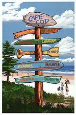 Cape Cod Massachusetts Destination Signpost Beach Hyannis etc. - Modern Postcard