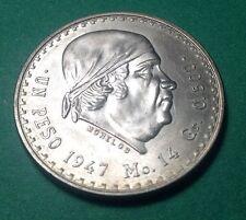1947 Silver Mexico Peso Dollar Coin 1 Un (Morelos) Moneda de Plata