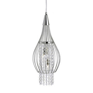 Searchlight 2 Light Chrome Cage Frame Crystal Ceiling Fitting Pendant Chandelier