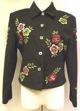 Anage Black Floral Jacket Size S Button Up Sequins Beads Embroidery Lined
