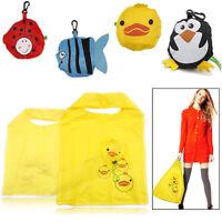 Reusable Foldable Shopping Bag Eco Animal Tote Handbag Fold Away Ladies Clip NEW