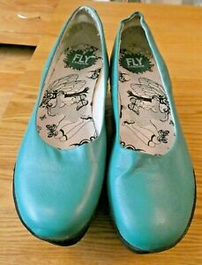 Fly London Andy Women's Platform Wedge Shoes In Peacock UK 6 EU 39 Superb