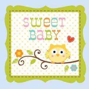 Baby Shower 3-Ply Beverage Napkins 16 Pack Happi Tree Sweet Baby Boy Party