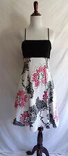 Joseph Ribkoff 6 Black White Pink Flower Fit & Flare Party Dress Open Back