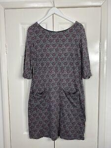 White Stuff Dress UK 12 Grey Pink Jersey Knee Length Pockets Floral Flower Print