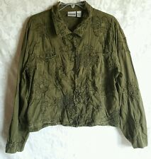 Chicos womens clothing size 3 Long Sleeve Button Up Dark Green Textured Flowers
