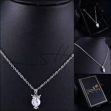 Süße Kette Halskette *Silber-Eule*, Weißgold pl., Swarovski Elements, inkl. Etui