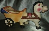Rare - 1950s Vintage Ceramic Horse Pulling Flower Cart Mid Century Japan