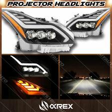 For 08-13 Infiniti G37 / 14-15 Q60 AlphaRex Jet Black Nova Projector Headlights