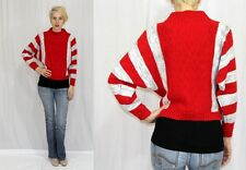 Vintage 80s Red Gray STRIPED Dolman Sleeve Cropped Retro Knit Sweater Top~SM