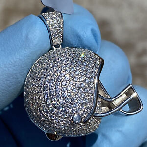 Real Solid 925 Sterling Football Helmet Micro Pave Charm Iced CZ Hip Hop Pendant