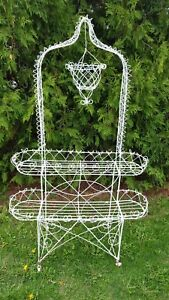 Victorian Twisted Wire Plant Stand - Metal White Late 19th Century