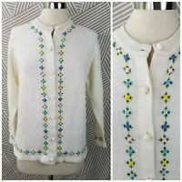 Vintage Hand Knit Cardigan Sweater Size Small Medium Open Floral Embroidery
