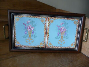 Vintage wooden tray with two pretty tile inset and brass handles