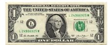 "ONE DOLLAR  BILL (fancy Serial Number) RAISED/STUCK DIGIT HIGH 5"" ERROR NOTE"