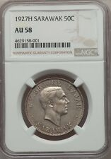 SARAWAK  CHARLES V. BROOKE  1927-H  50 CENTS SILVER COIN CERTIFIED, NGC AU58