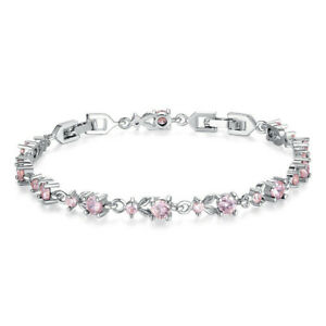 Fashion Woman Exquisite Pink Round Zircon Silver Bracelet Jewelry Wedding Gift