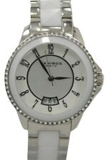 Akribos XXIV AK654WT Impeccable Date Swarovski Accented Ceramic Womens Watch