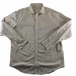 Banana Republic Large Button Down Shirt Long Sleeve White Striped 16-16 1/2