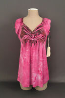 New ONE WORLD Women's Pink-Purple Gathered Front Short Sleeve Top-Blouse Sz. MD