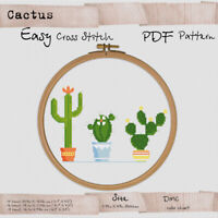 Cacti Cactus - Easy Cross stitch PDF Botanical Embroidery Pattern #157