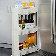 Slide Out Storage Tower Folding 3 Tier Rolling Castor Kitchen Trolley Spice Rack