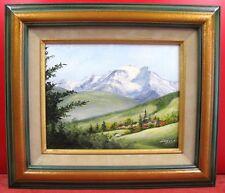 tableau huile sur toile, paysage de montagne, Combloux, signé Noëlle Zecchinon
